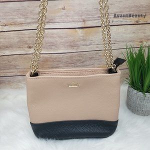 New Kate Spade Leather Small Beige Black Crossbody